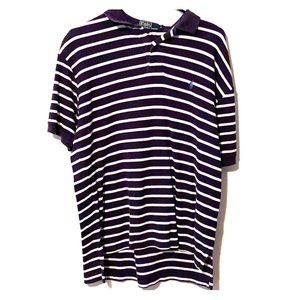 Polo shirt dark blue with white stripping